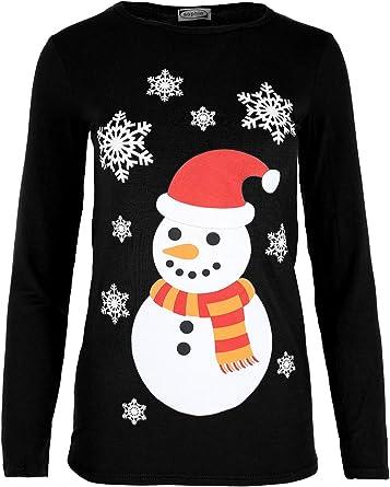 Women Christmas Xmas Reindeer Pudding Snowflakes Ladies Cap Sleeve Tee Shirt Top