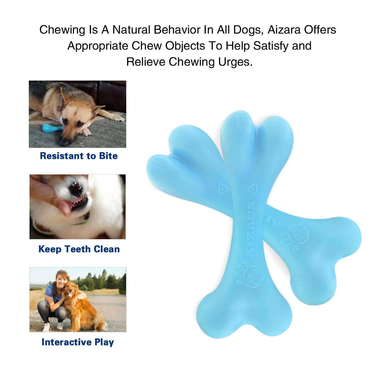 ucho Dog Chew Toys for Aggressive Chewers, Indestructible Dog Toys Tough Durable Nylon Bone Chew Toy for Large Dogs