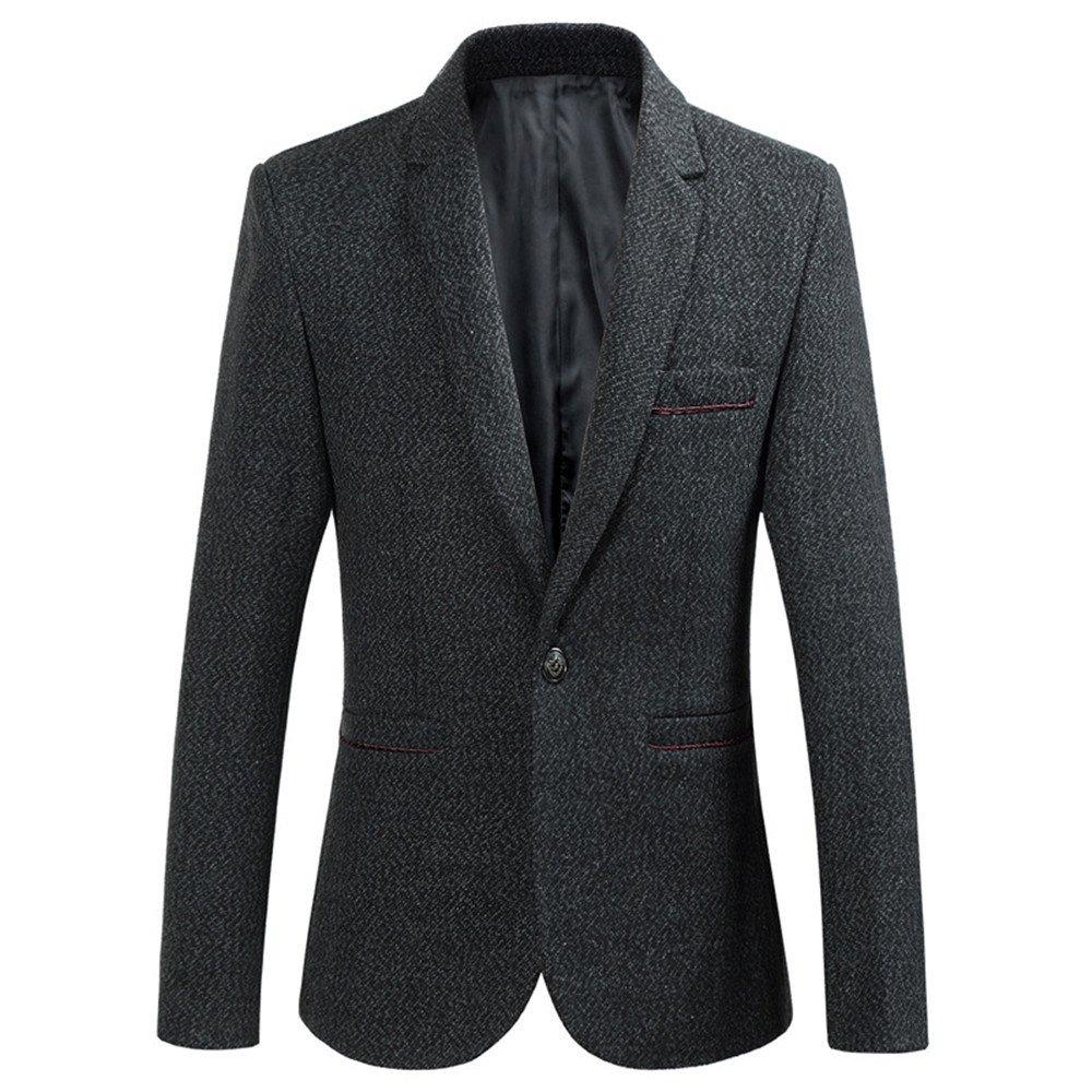 Sndofej herrenanzüge Winter - Mode für männer Wolle Sakko,dunkelgrau,3XL