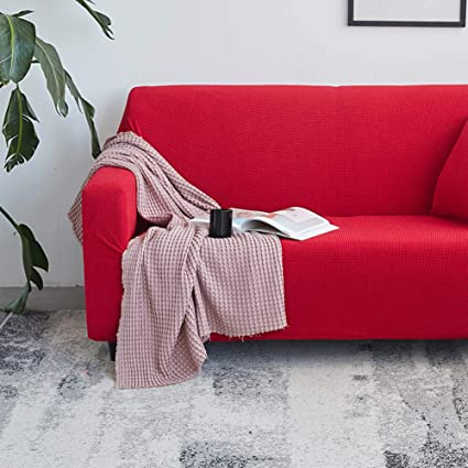 Amazon.com: Knitted Solid Color Sofa Cover with Cushion Covers ...