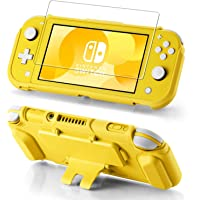 Funda protectora para Nintendo Switch Lite, protector de pantalla de vidrio templado, 4 ranuras para tarjetas de juego…