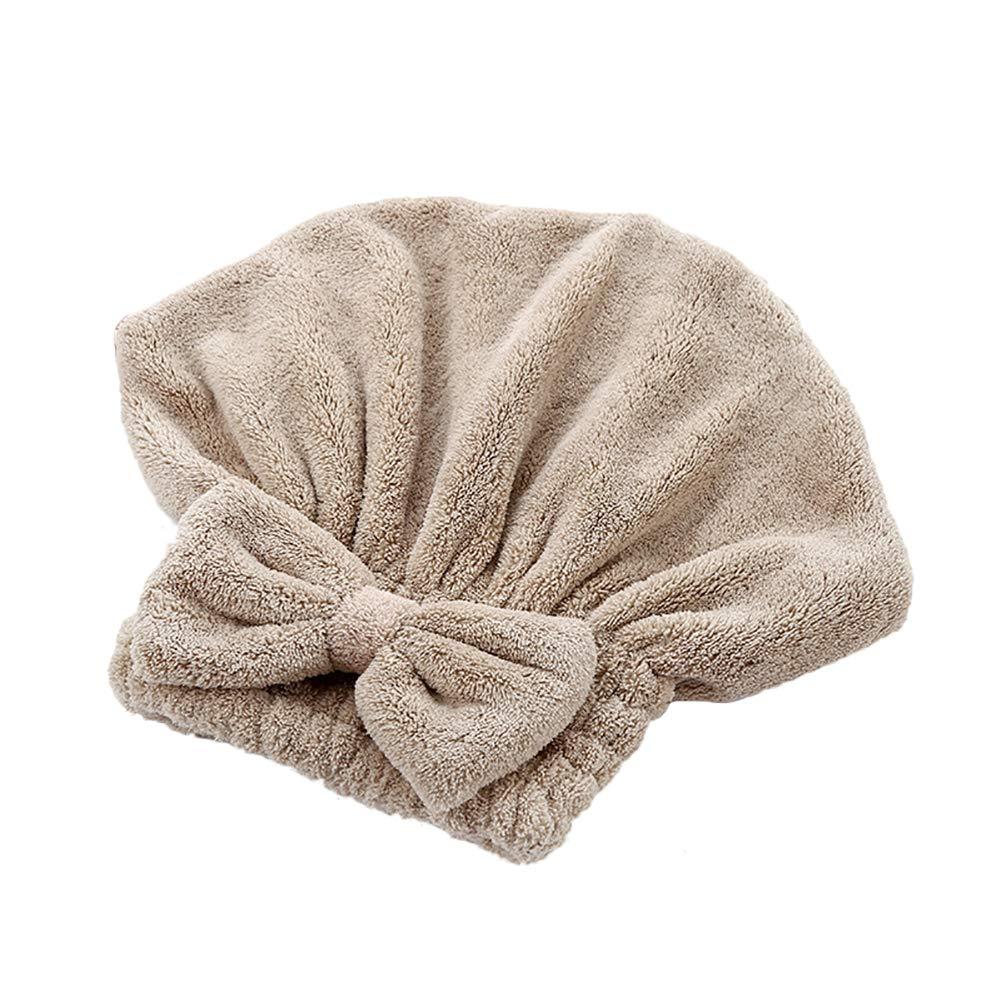 JUNGEN Chapeau de Cheveux secs Bonnet de Douche à Absorption d'eau Velours Corail Casquette sèche Serviette de Bain pour séchge Cheveux Size 25 * 26cm (Brown)
