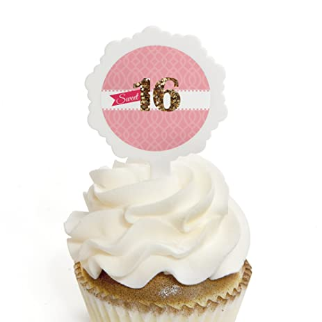 Amazoncom Sweet 16 Cupcake Picks with Stickers 16th Birthday