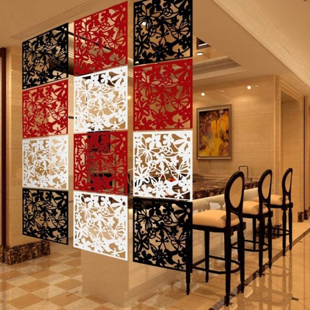 Vosarea 12pcs Hanging Room Divider Panels Room Screen Panels for Living Room Bedroom White and Black