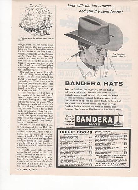 Amazon.com  Bandera High Sierra Western Hats Style 1963 Vintage ... 84a7cbbb387