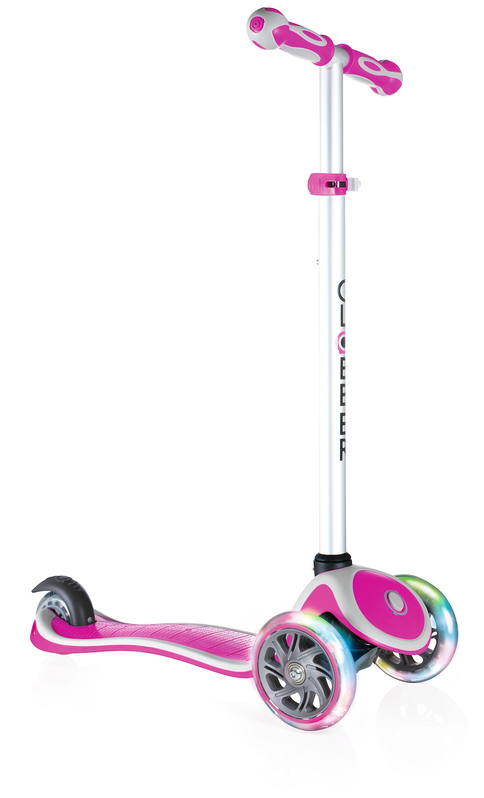 Globber 3 Wheel Adjustable Height Scooter with LED Light Up Wheels (Pink)