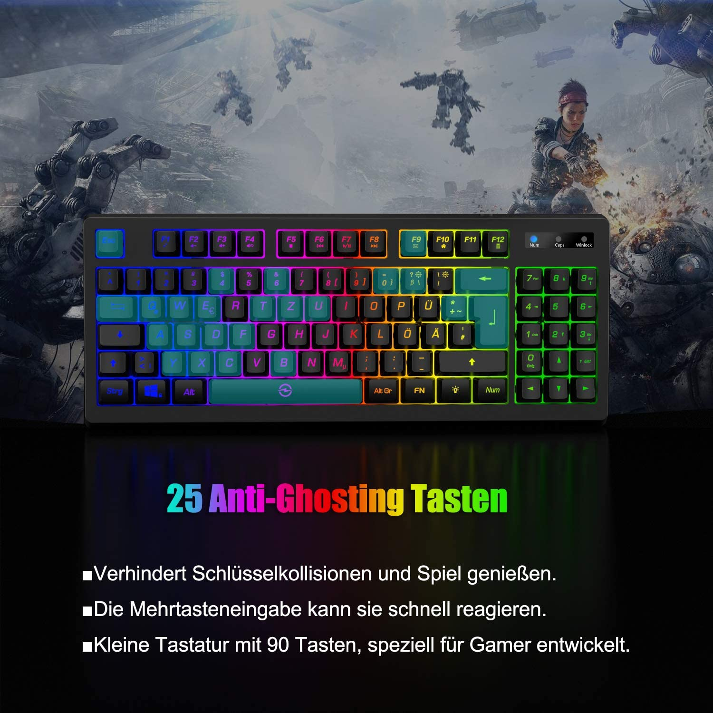 G076 - Teclado para videojuegos (90 teclas, tamaño pequeño, RGB, LED, 25 teclas, anti-ghosting, diseño compacto para jugadores, PC, Bussiness, ...
