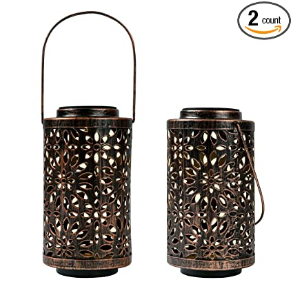 Sunwind Solar Decorative Lanterns Outdoor Solar Lanterns Outdoor Hanging 2 Pack Solar Hollow Lights Solar Powered Garden Decorative Table Lights For