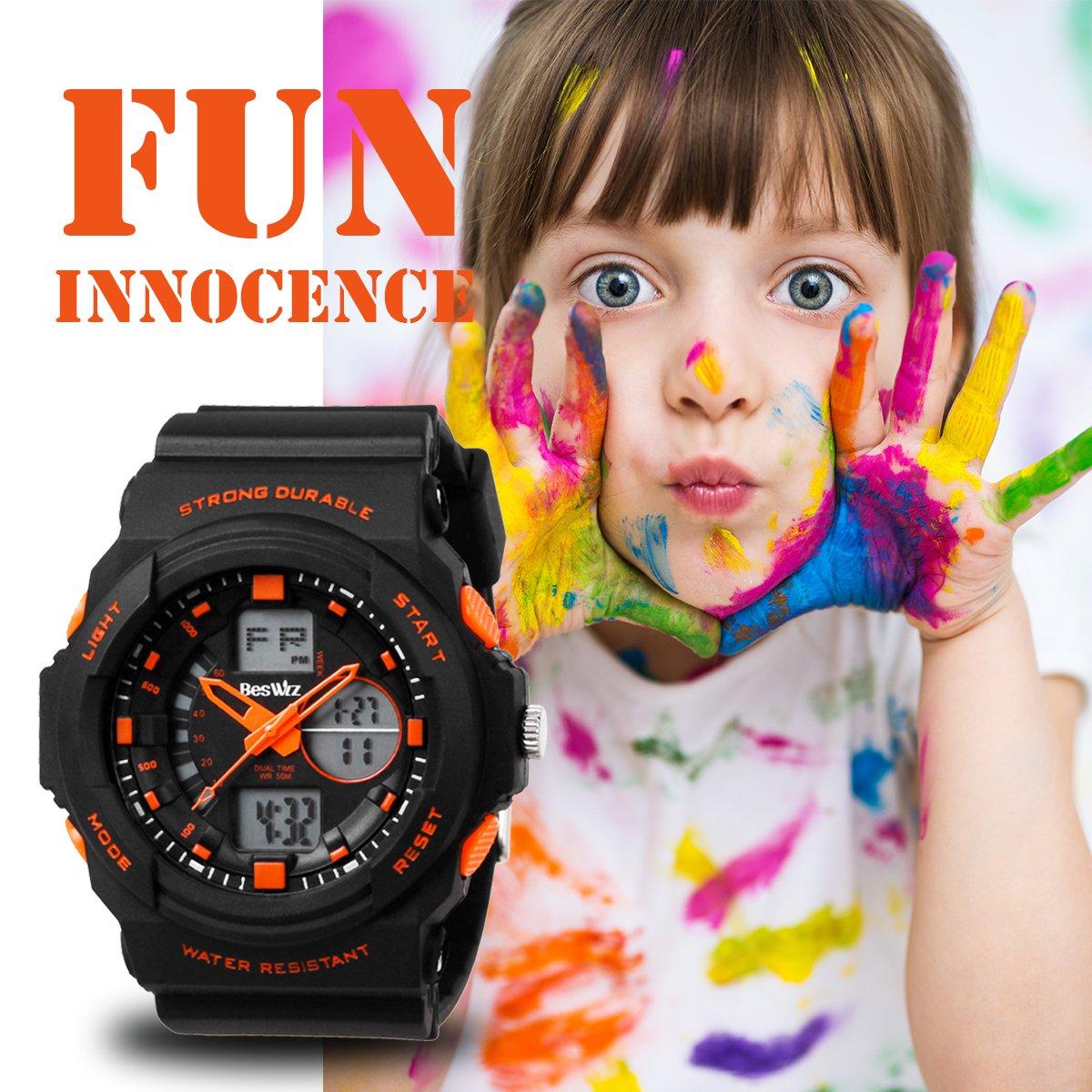 BesWLZ Multi Function Digital LED Quartz Watch Water Resistant Electronic Sport Watches Child Orange by BesWlz (Image #7)