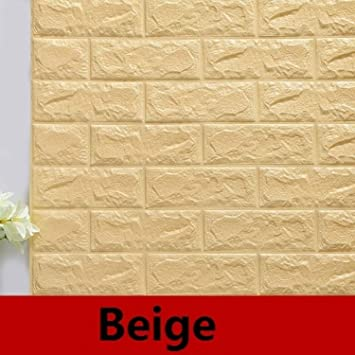 Batop DIY Self Adhensive 3D Brick Wall Stickers - Living Room Decor - Foam Waterproof Wall
