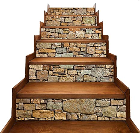 Amazon Com Eyourlife 6 Pcs Self Adhesive Stair Stickers Removable Tile Decals Stair Riser Backsplash For Living Room Hall Kids Room Decor Brick Stone Home Kitchen