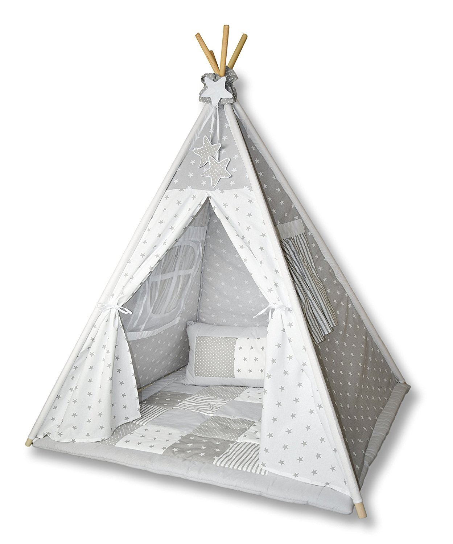 Amilian Tipi Spielzelt Zelt für Kinder T01 (Spielzelt mit der Tipidecke und Kissen)