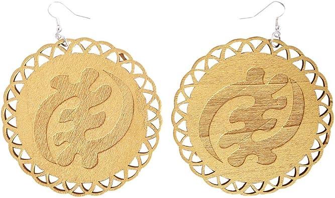 Pendientes Gye Nyame de color dorado/símbolo Adinkra/pendiente de mujer afroamericana de madera/joyería de madera africana: Amazon.es: Joyería