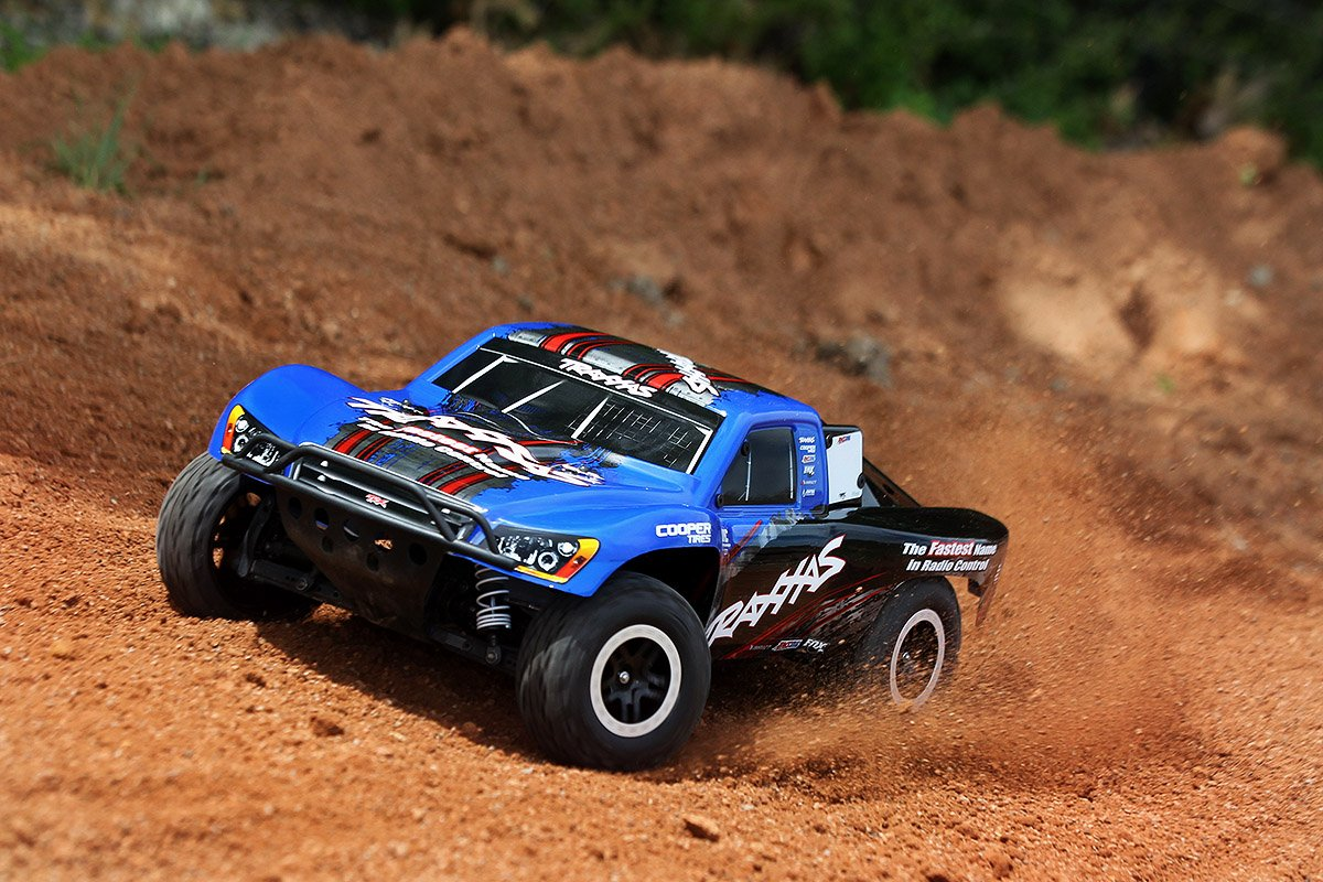 Traxxas 58076 24 Slash Vxl 2wd 1 10 Brushless Short Scale Pro Course Race Truck 58034 With Tqi 24ghz Radio Oba And Tsm Blue Toys Games