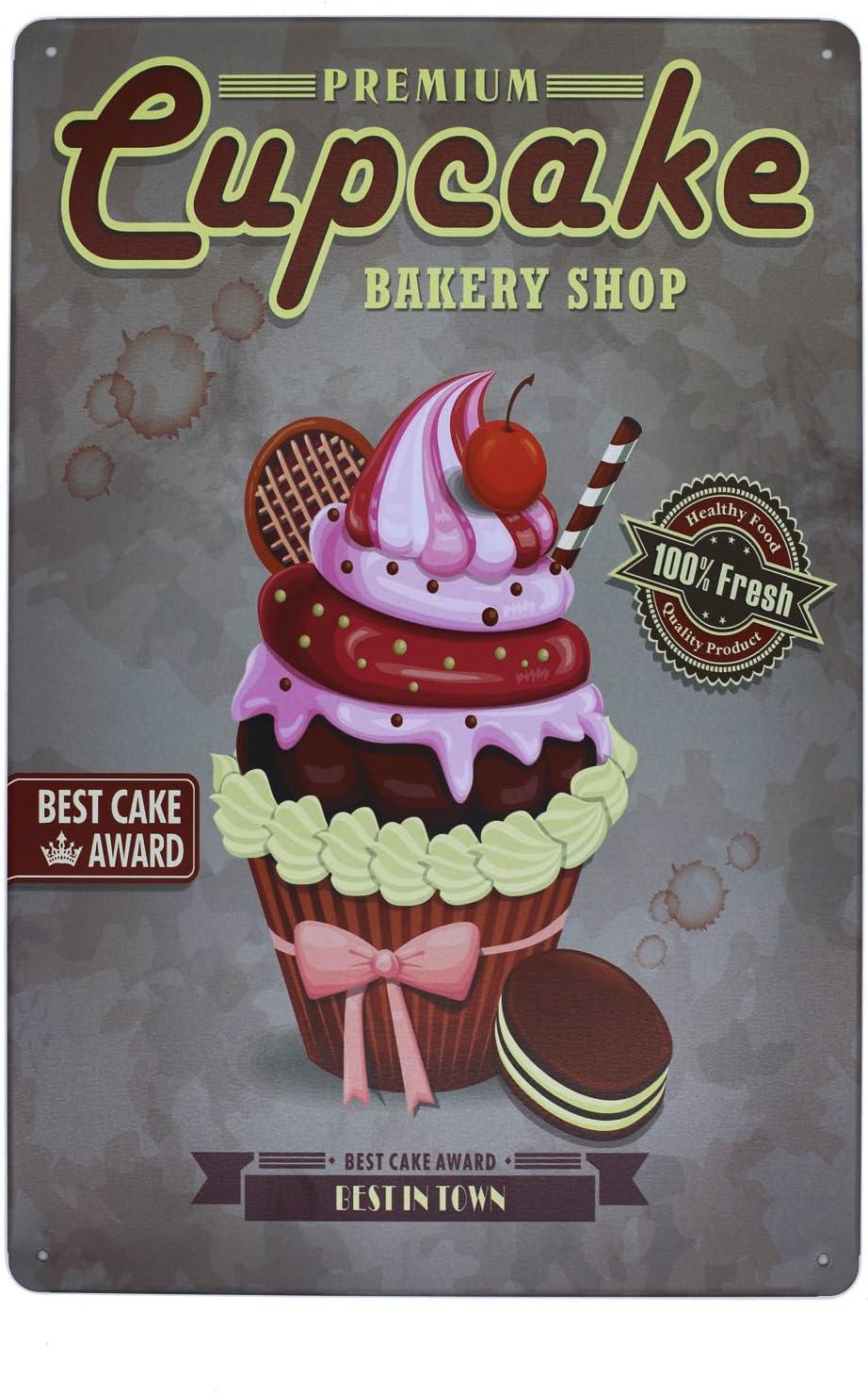 Hioni Cupcake Bakery Shop Pancarte en M/étal Panneau Poster Plaque M/étallique Slogan Art D/écor Vintage Pr Cuisine P/âtisserie