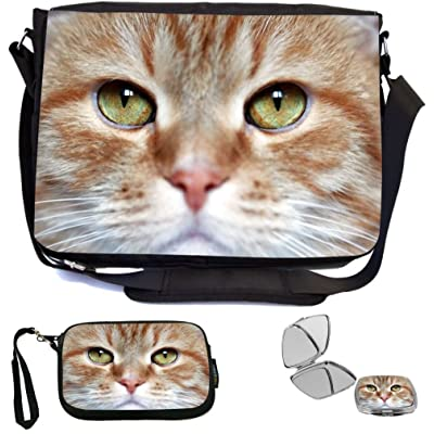 Rikki Knight Domestic Ginger Cat With Green Eyes Design COMBO Multifunction Messenger Laptop Bag - with padded insert for School or Work - includes Wristlet & Mirror