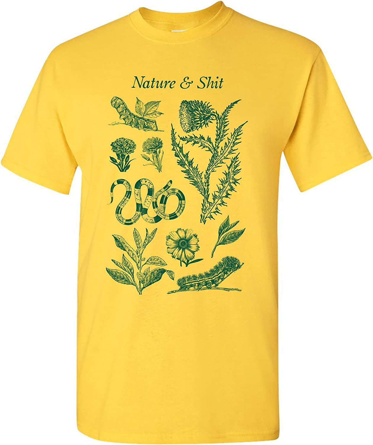 Nature and Sh-t Funny Outdoors Hiking Basic Cotton T-Shirt