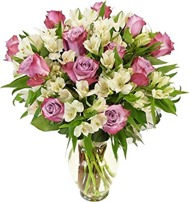 Benchmark Bouquets Delightful Roses and Alstroemeria, With Vase