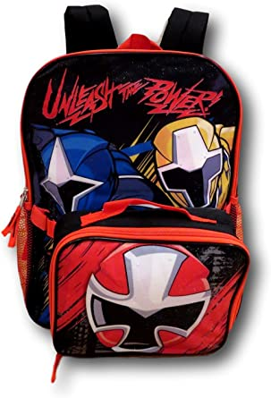 "Super Ninja Steel Power Rangers 16/"" School Backpack With Matching Lunch Bag Set"