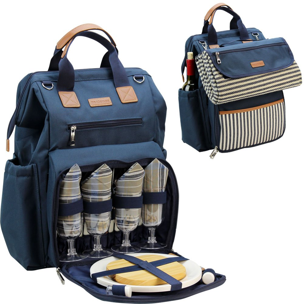 INNO STAGE Wide Open Large Capacity Picnic Backpack for 4, with Insulated Cooler Compartment,9'' Plates,Wooden Handle Cutlery and Waterproof Blanket Navy Blue