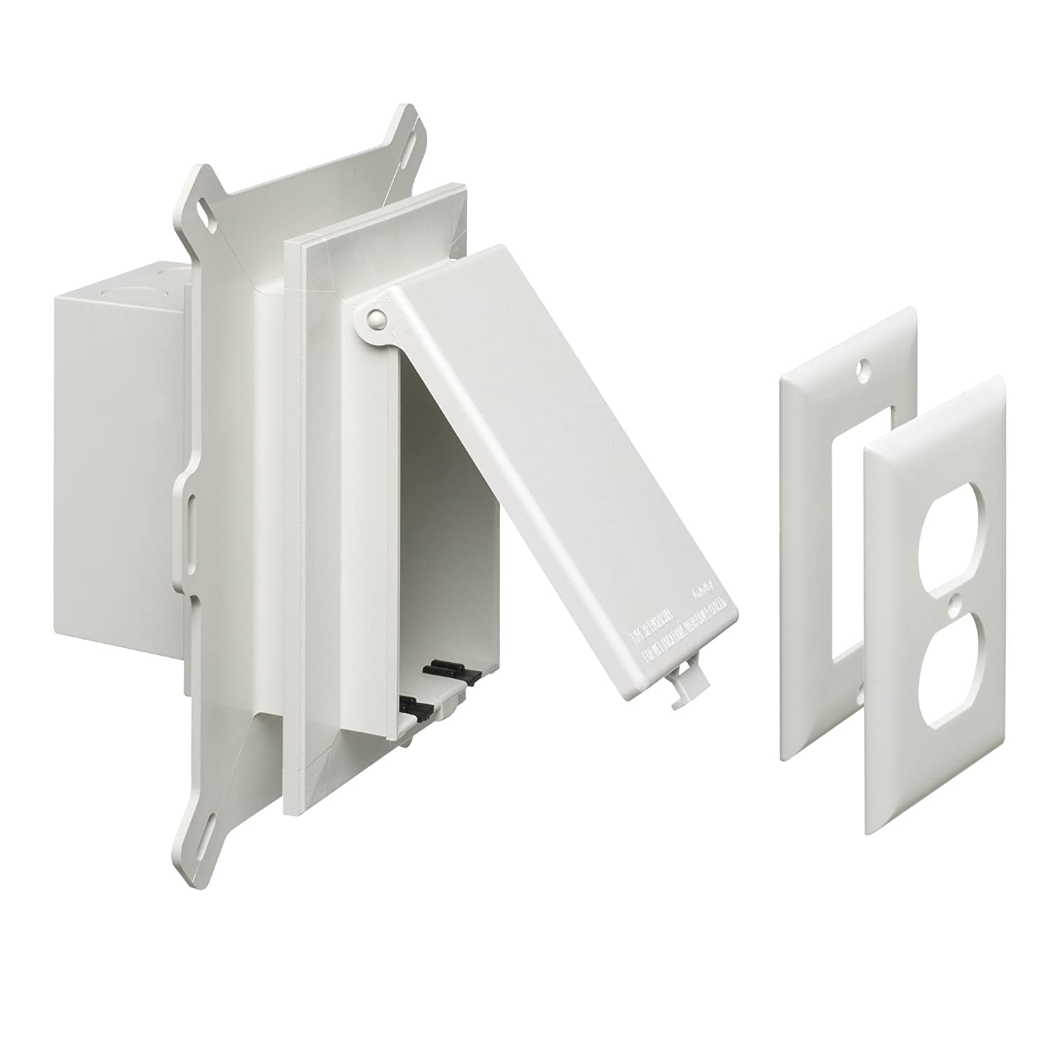 Vertical Arlington DBVS1C-1 Low Profile IN BOX Recessed Outlet Box Wall Plate Kit for New Vinyl Siding Construction 1-Gang Clear