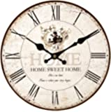 Upuptop 16inch Home Sweet Home Classic Vintage Design Rustic Home Themed Wooden Wall Clock Decorative Living Room