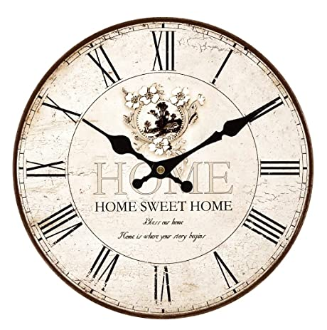 Upuptop 14inch Home Sweet Home Classic Vintage Design Rustic Home Themed  Wooden Wall Clock Decorative Living