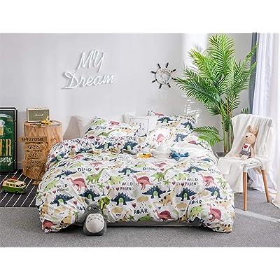 nioBomo Kids Duvet-Cover-Set, Queen White Dinosaur Cartoon Bedding-Set, 1 Duvet Cover and 2 Pillowcase Microfiber Comforter- Cover- Set: Home & Kitchen