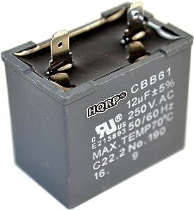 HQRP 12uf Refrigerator Capacitor for GE WR62X79 JSU21X126 JSU21X126AOC JSU21X126AQC Replacement BCS42CKB CTH14CYXRLAD CTT21GAXLRWW CTX16CIZDLAD DTS18ICRFRWW ESS25KSTFSS FCM5DMCWH