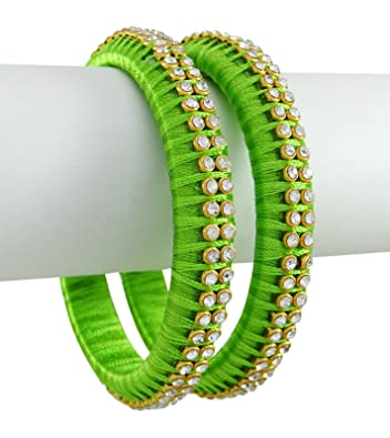 aac77415958ec Yathnics Green Colour Silk Thread Bangles Set For Girls & Women ...