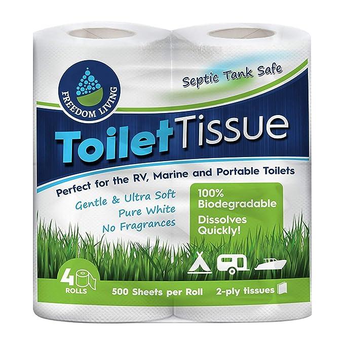 Papel higiénico inocuo para fosas sépticas (2 capas, 4 rollos) para RV, camping y marina, biodegradable, alternativa natural al sistema séptico de ...