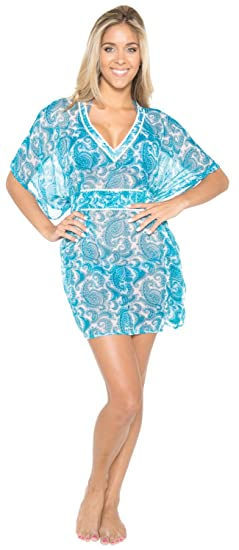 c362fb9db9774 LA LEELA LIGHTWEIGHT CHIFFON 5 oz ALL IN 1 TUNIC TOP SWIMWEAR SWIMSUIT  Bikini SUNDRESS TUNIC