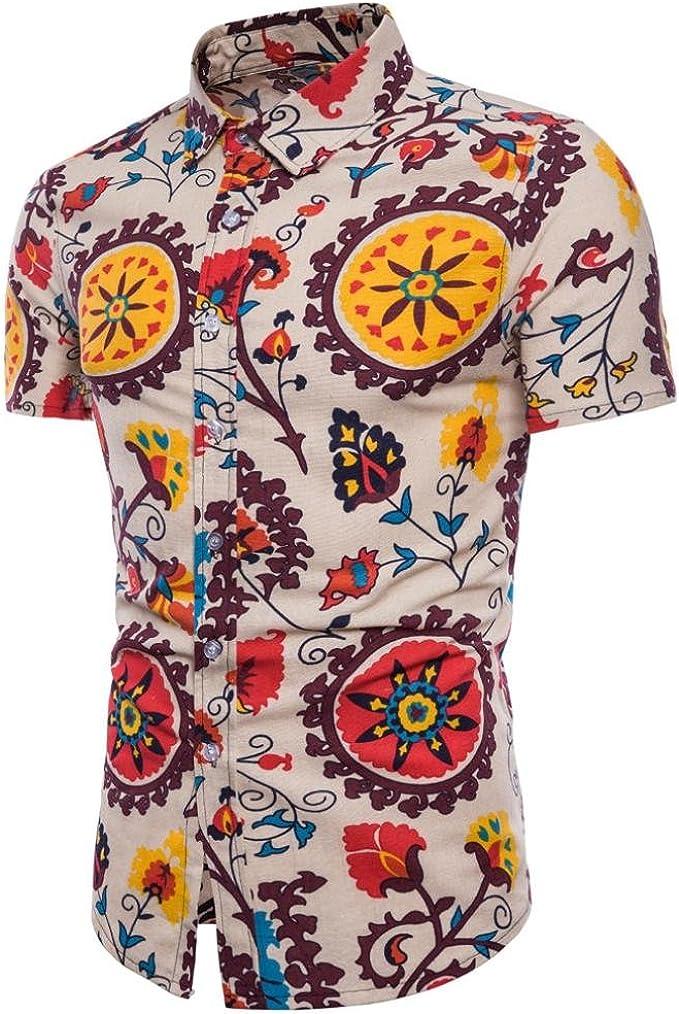 QinMM Camisa Estampada Boho Verano del Hombre de Tallas Grandes, Blusa Delgada Casual de Manga Corta Playa Tops (Amarillo, 3XL): Amazon.es: Ropa y accesorios