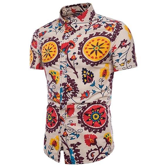 3499a59c86 QinMM Camisa Estampada Boho Verano del Hombre de Tallas Grandes ...