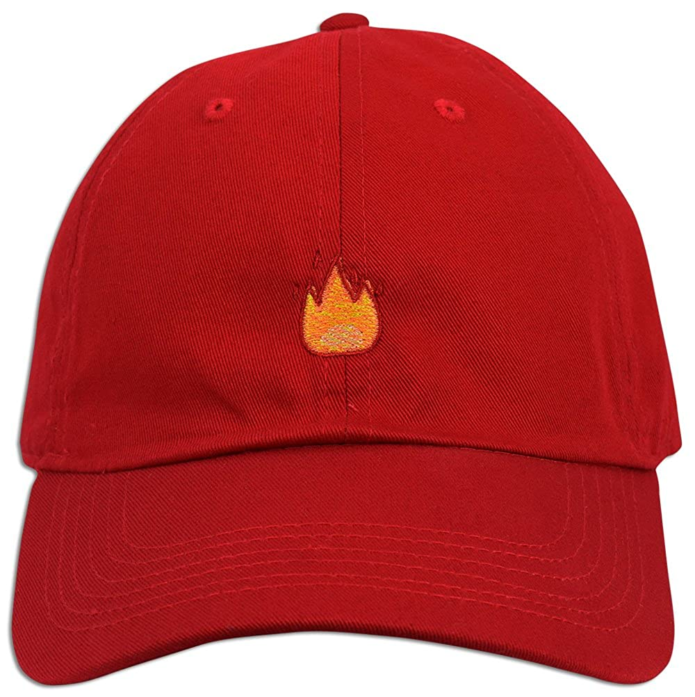 3806673119e Fire Emoji Baseball Cap Curved Bill Dad Hat 100% Cotton Lit Hot Flame Solid  NEW (Black) at Amazon Women s Clothing store