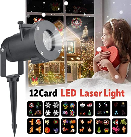 hll-036 Navidad Luces Impermeable LED Copo de Nieve Proyector 12 ...