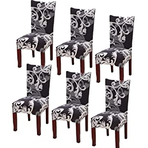 YISUN Stretch Dining Chair Covers Removable Washable Short Dining Chair Protect Cover for Hotel,Dining Room,Ceremony,Banquet Wedding Party (Dark Brown/Flower Pattern, 6 PCS)