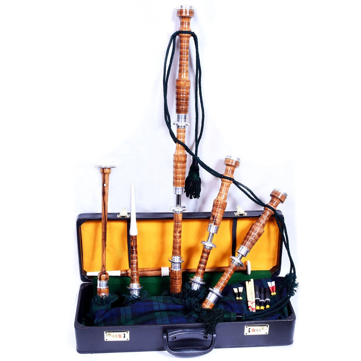 New Highland Rosewood Bagpipe Full Silver Mounts Free Carrying case & Tutor Book US Products