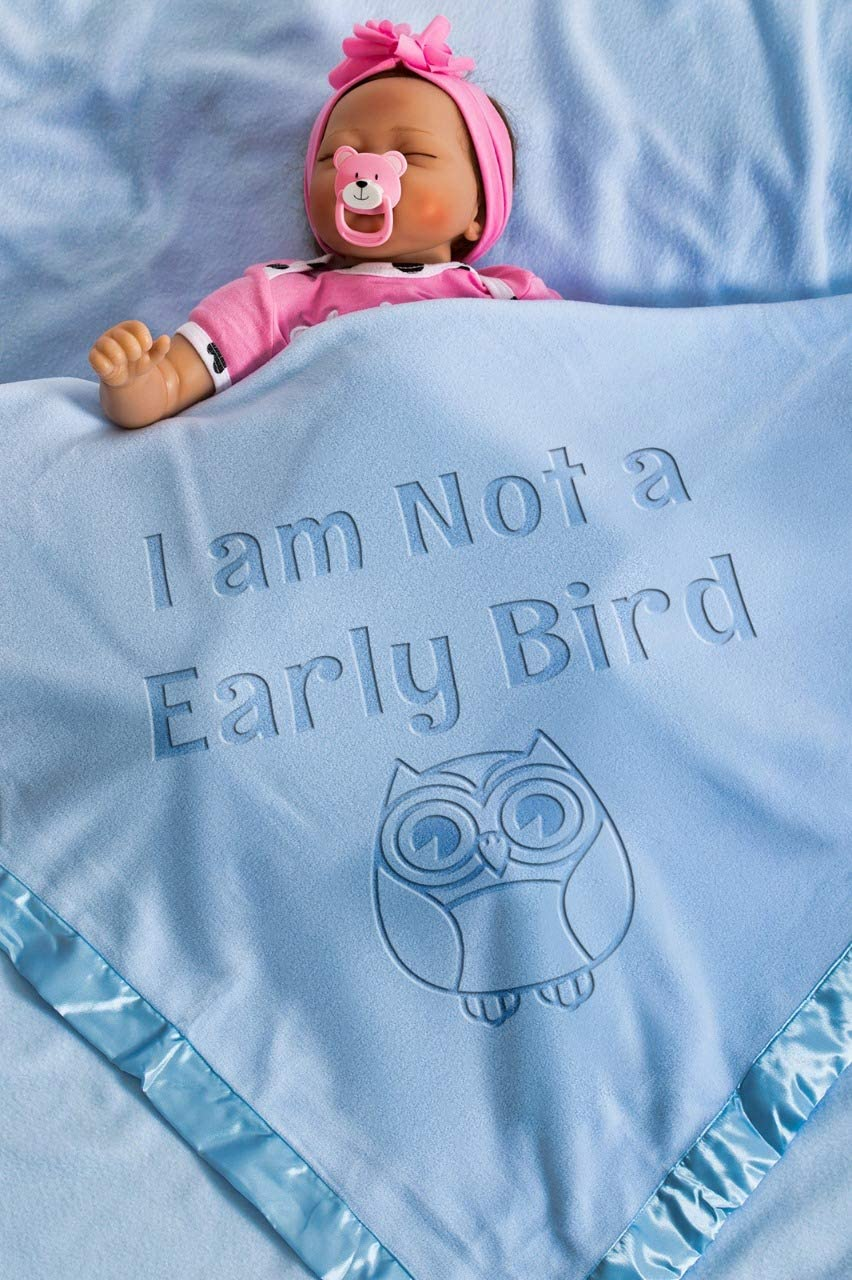 Funny Baby Blanket for Boys and Girls with Engraved TextI Am Not A Early Bird Owl//Blue Size 88x88 CM//36x36 Newborn Baby Gift