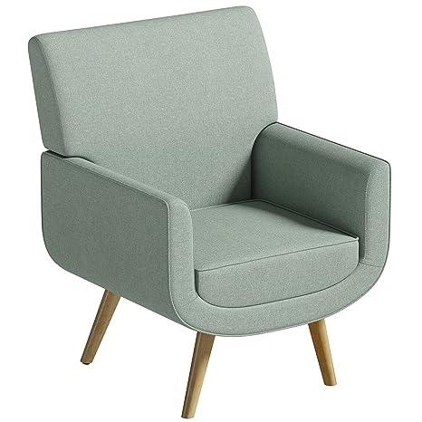 Silla de tela Yves, color verde, sillón de estilo retro ...