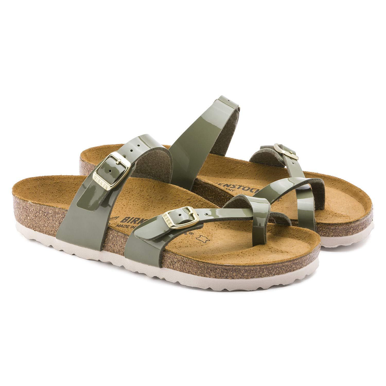 Birkenstock Womens Mayari Strappy Birko-Flor Twin Buckle Patent Sandals - Khaki - US7/EU38