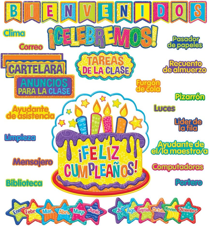 Eureka Color My World Spanish 'Welcome to Class' Bulletin Board and Classroom Decorations, 44pc, 17'' W x 24'' L