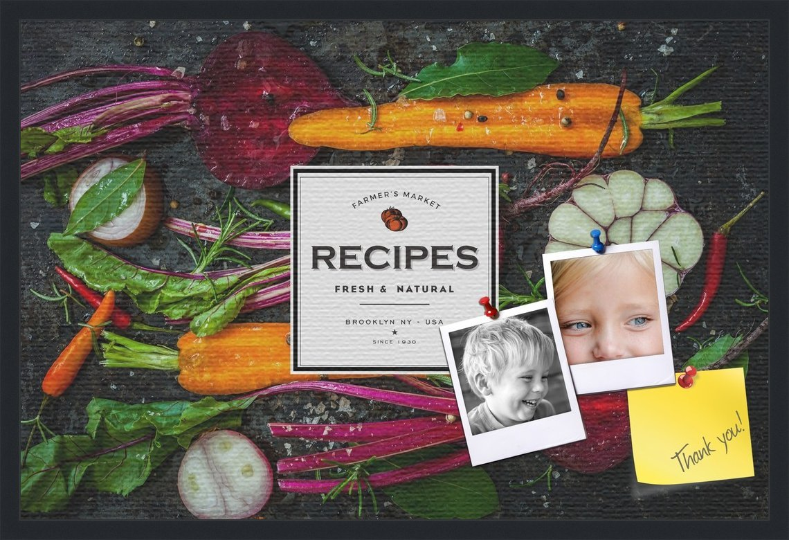 PinPix decorative pin cork bulletin board made from canvas, Recipe Board with Root Vegetables 36x24 Inches (Completed Size) and framed in Satin Black (PinPix-Group-36) by PinPix