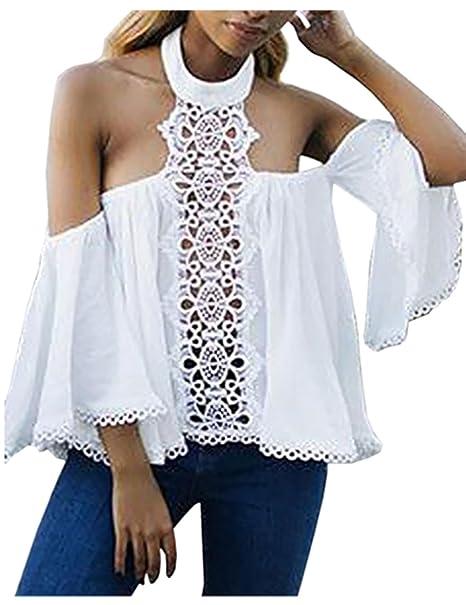 Boutiquefeel Blusa de Halter sin Hombros con Manga de Bocina y Volantes Camiseta para Mujer: Amazon.es: Ropa y accesorios
