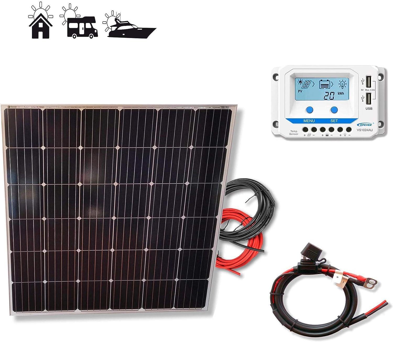 Kit 175W PRO 12V panel solar CUADRADO placa monocristalina células alemanas