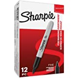 Sharpie Permanent Markers, Fine Tip, Black, Box of 12