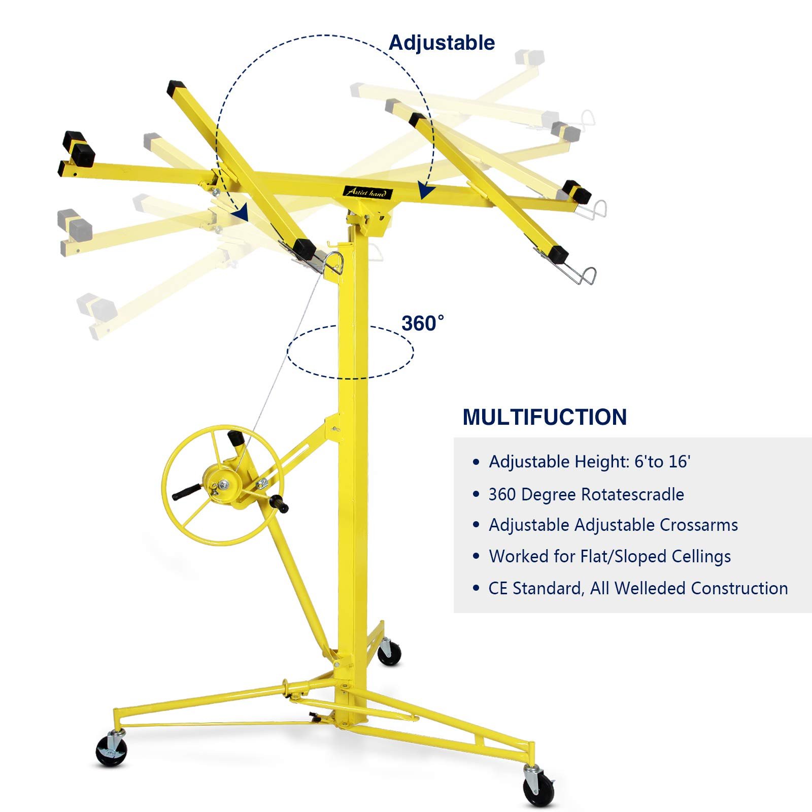 Idealchoiceproduct 16' Drywall Lift Rolling Panel Hoist Jack Lifter Construction Caster Wheels Lockable Tool Yellow by Idealchoiceproduct (Image #2)