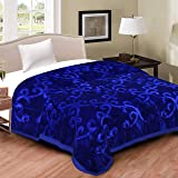 DWardrobe Double Bed Embossed Floral Print Mink Blanket for Winters and ac Rooms (Soft Velvet)