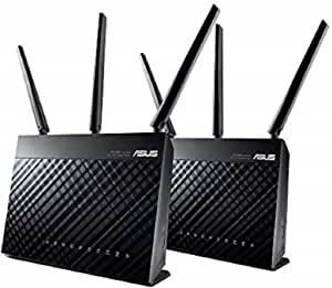 ASUS RT-AC68U AC1900 Dual-Band Mesh Wi-Fi System 2 Pack Wireless Router, Access Point Mode, Gigabit, Twin USB 3.0 for Media Server, 3G/4G Dongle Support