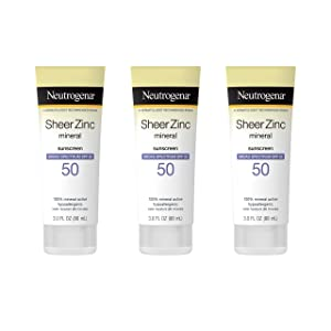 Neutrogena Sheer Zinc Oxide Dry-Touch Mineral Sunscreen Lotion, Broad Spectrum SPF 50 UVA/UVB Protection, Water-Resistant, Hypoallergenic and Non-Greasy, Paraben-Free, 3 fl. oz, Pack of 3